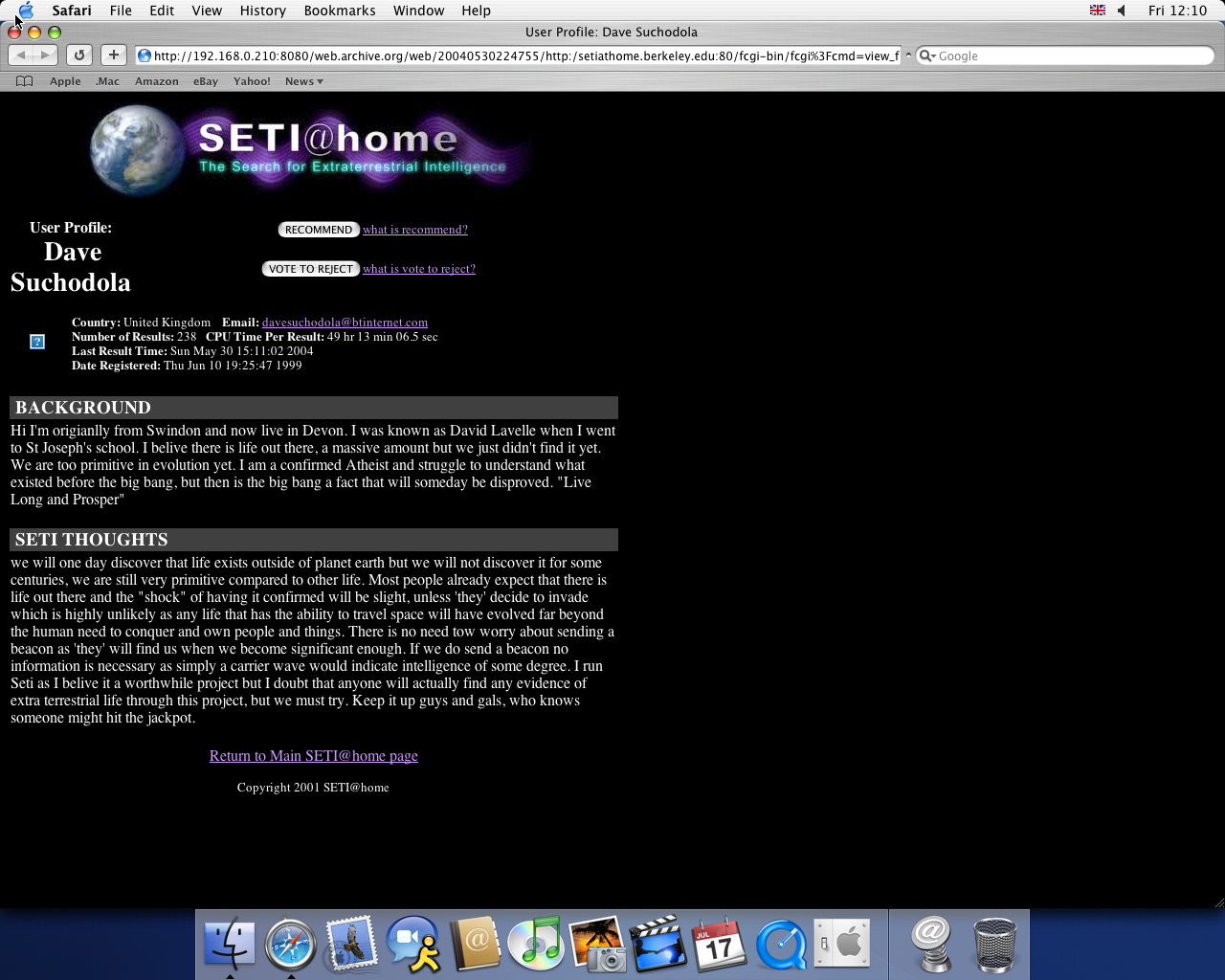 OS X 10.3 PPC with Safari 1.1 displaying a page from Seti@Home archived at May 30, 2004 at 22:47:55