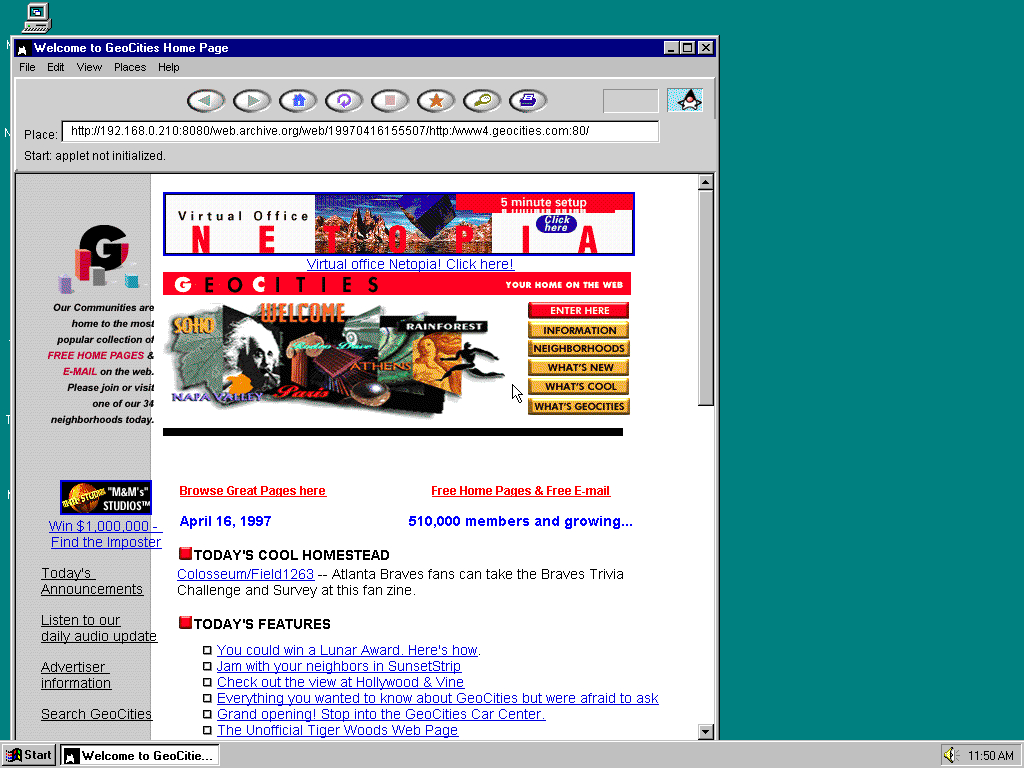 Windows 95 OSR2 x86 with HotJava 1.0 displaying a page from GeoCities archived at April 16, 1997 at 15:55:07