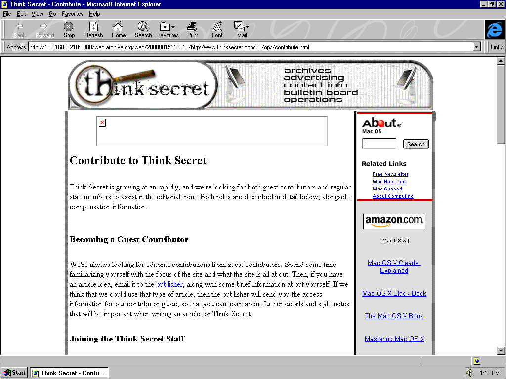 Windows 95 OSR2 x86 with Microsoft Internet Explorer 3.0 displaying a page from Think Secret archived at August 15, 2000 at 11:26:19