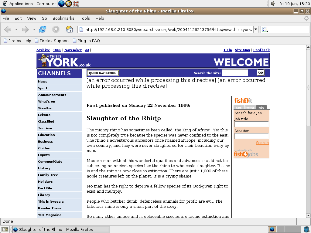 Ubuntu 4.10 x86 with Mozilla Firefox 0.9.3 displaying a page from York Press archived at November 26, 2004 at 21:37:56
