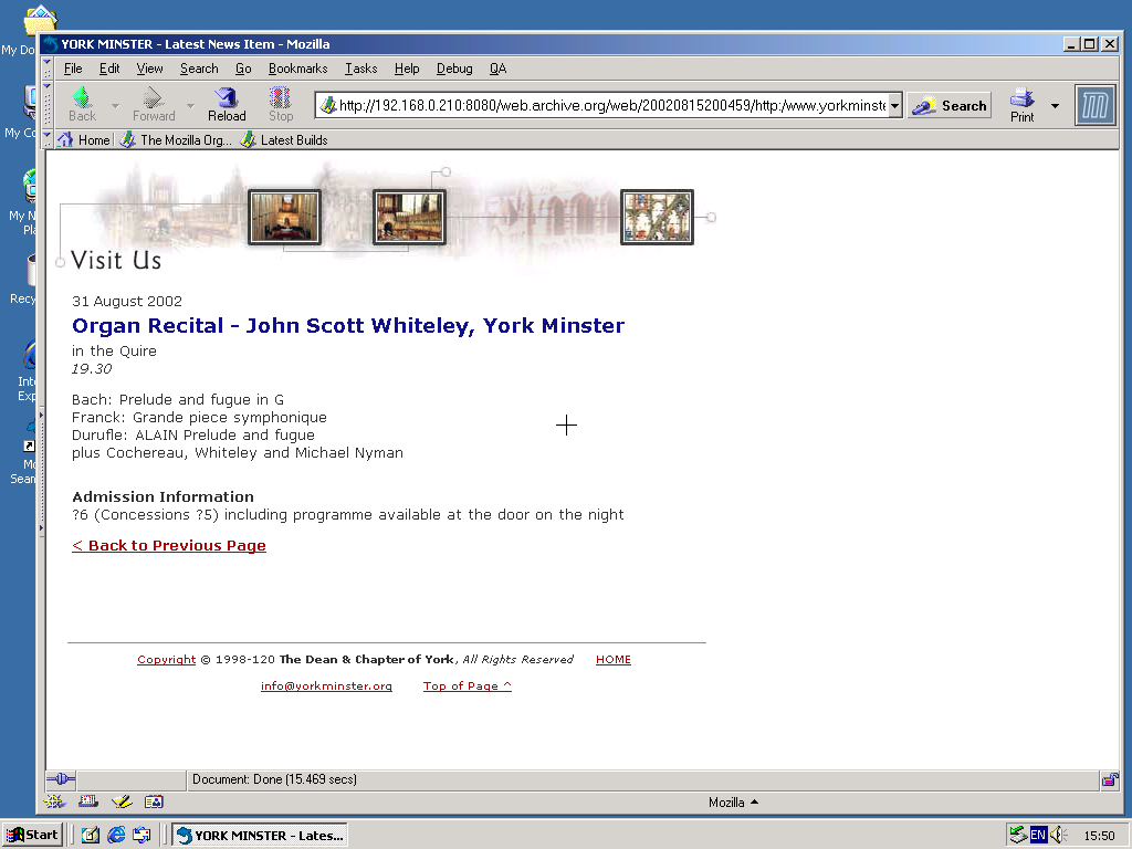Windows 2000 Pro x86 with Mozilla Suite 0.6 displaying a page from York Minster archived at August 15, 2002 at 20:04:59