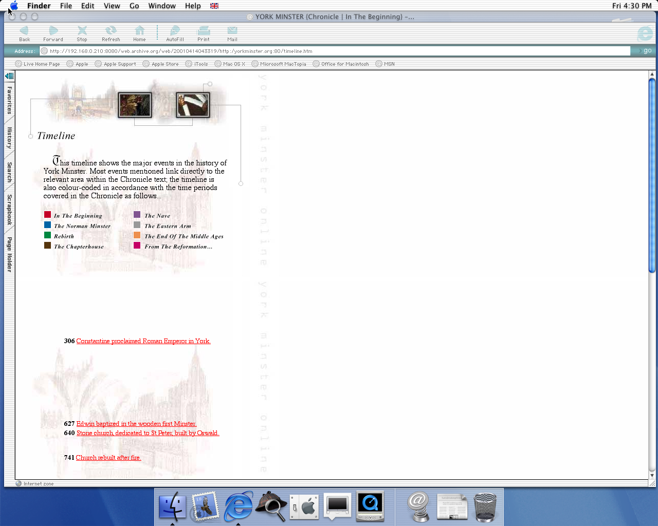 OS X 10.0 PPC with Microsoft Internet Explorer 5.1 for Mac Preview displaying a page from York Minster archived at April 14, 2001 at 04:33:19