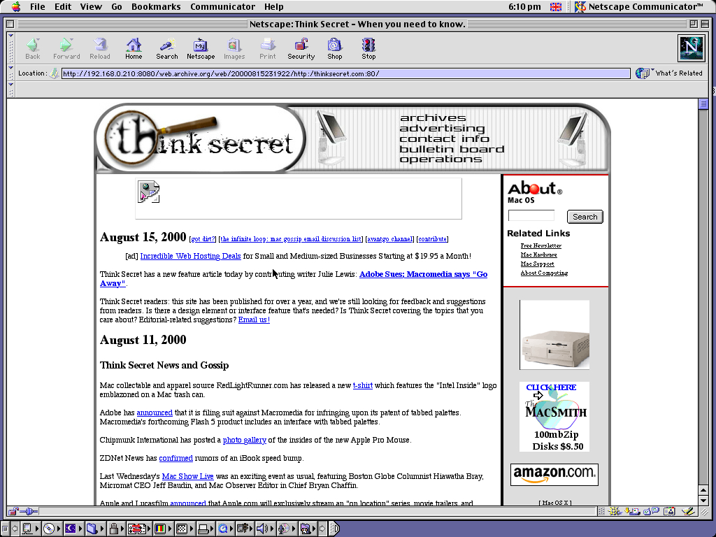 Mac OS 9.0.4 PPC with Netscape Communicator 4.73 displaying a page from Think Secret archived at August 15, 2000 at 23:19:22