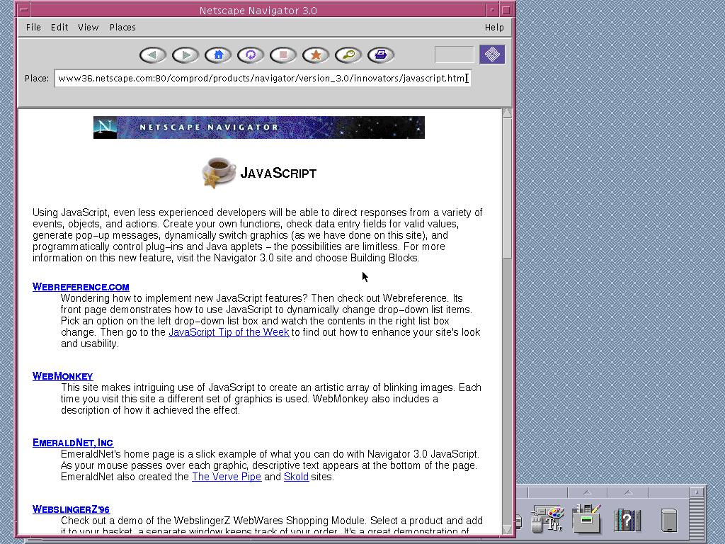 Solaris 2.6 SPARC with HotJava 1.0 displaying a page from Netscape archived at July 08, 1997 at 17:38:12