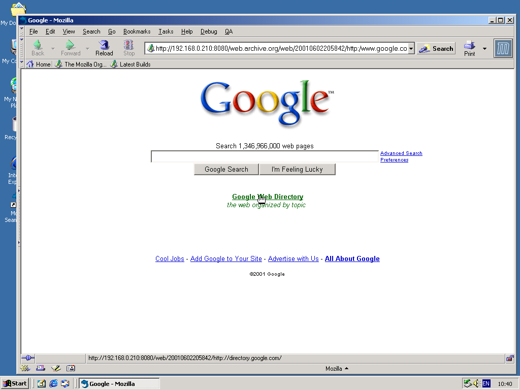 Windows 2000 Pro x86 with Mozilla Suite 0.6 displaying a page from Google.com archived at June 02, 2001 at 20:58:42