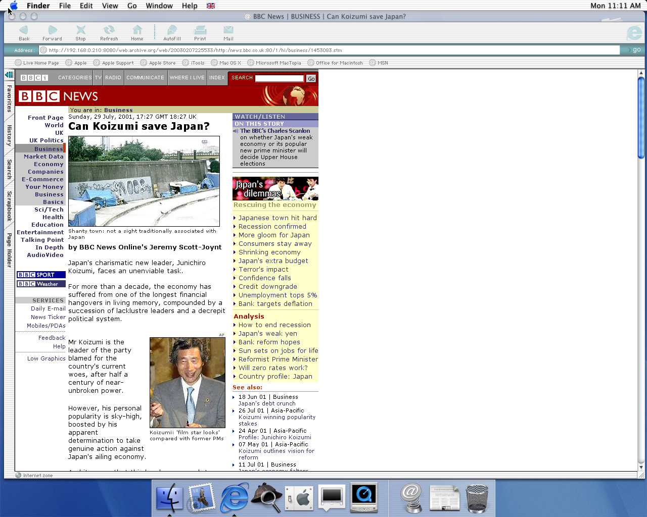 OS X 10.0 PPC with Microsoft Internet Explorer 5.1 for Mac Preview displaying a page from BBC News archived at February 07, 2003 at 22:55:33