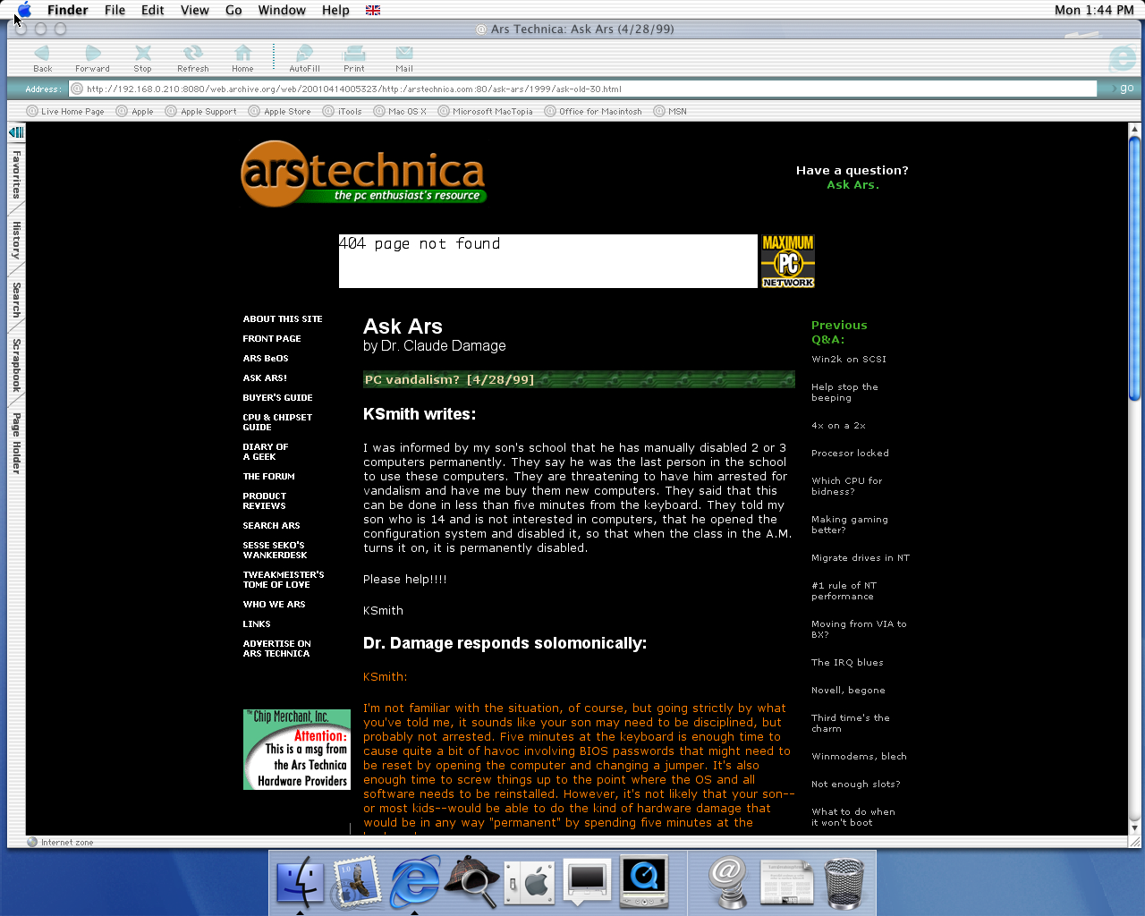 OS X 10.0 PPC with Microsoft Internet Explorer 5.1 for Mac Preview displaying a page from Arstechnica.com archived at April 14, 2001 at 00:53:23
