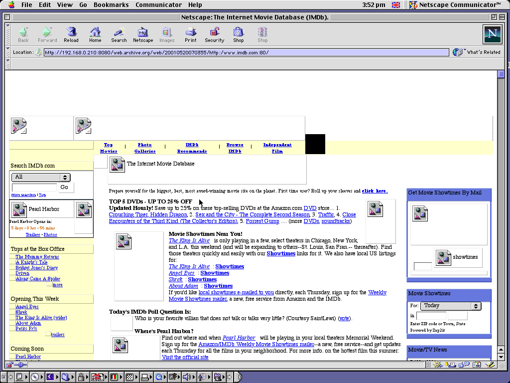 Mac OS 9.0.4 PPC with Netscape Communicator 4.73 displaying a page from IMDB archived at May 20, 2001 at 07:03:55