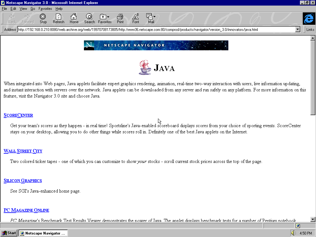 Windows 95 OSR2 x86 with Microsoft Internet Explorer 3.0 displaying a page from Netscape archived at July 08, 1997 at 17:38:05