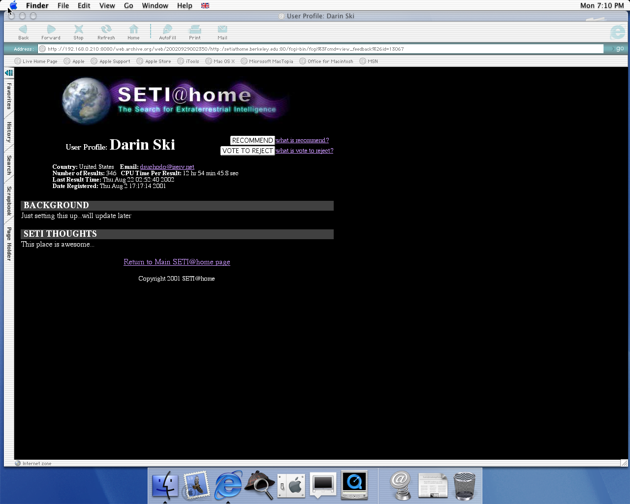OS X 10.0 PPC with Microsoft Internet Explorer 5.1 for Mac Preview displaying a page from Seti@Home archived at September 29, 2002 at 00:23:50