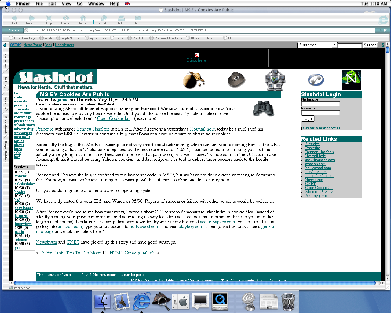 OS X 10.0 PPC with Microsoft Internet Explorer 5.1 for Mac Preview displaying a page from Slashdot archived at October 31, 2001 at 14:29:23