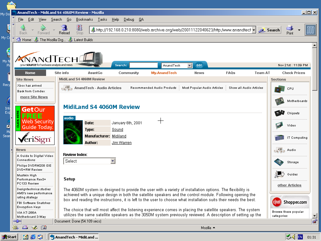 Windows 2000 Pro x86 with Mozilla Suite 0.6 displaying a page from AnandTech archived at November 22, 2001 at 04:06:23