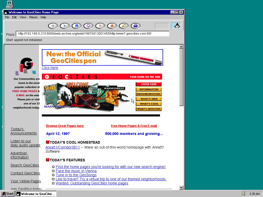 Windows 95 OSR2 x86 with HotJava 1.0 displaying a page from GeoCities archived at April 13, 1997 at 00:14:55