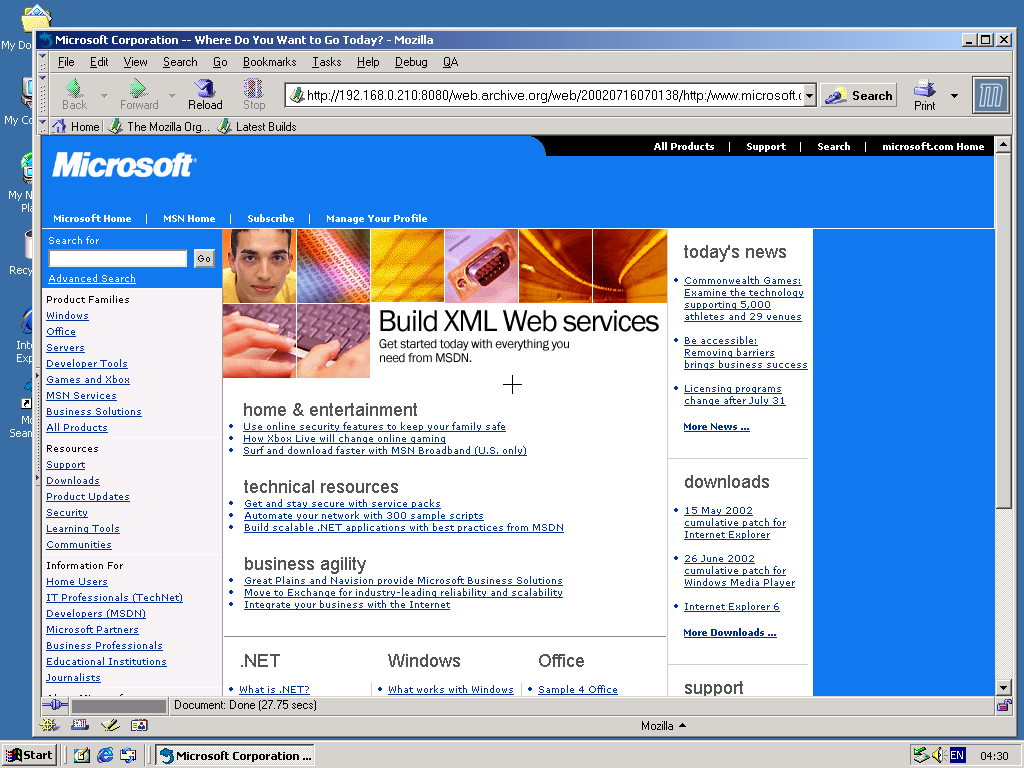 Windows 2000 Pro x86 with Mozilla Suite 0.6 displaying a page from Microsoft.com archived at July 16, 2002 at 07:01:38