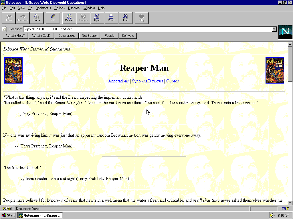 Windows 95 OSR2 x86 with Netscape Navigator 3.0 Gold displaying a page from Lspace.org archived at April 21, 1999 at 17:02:35