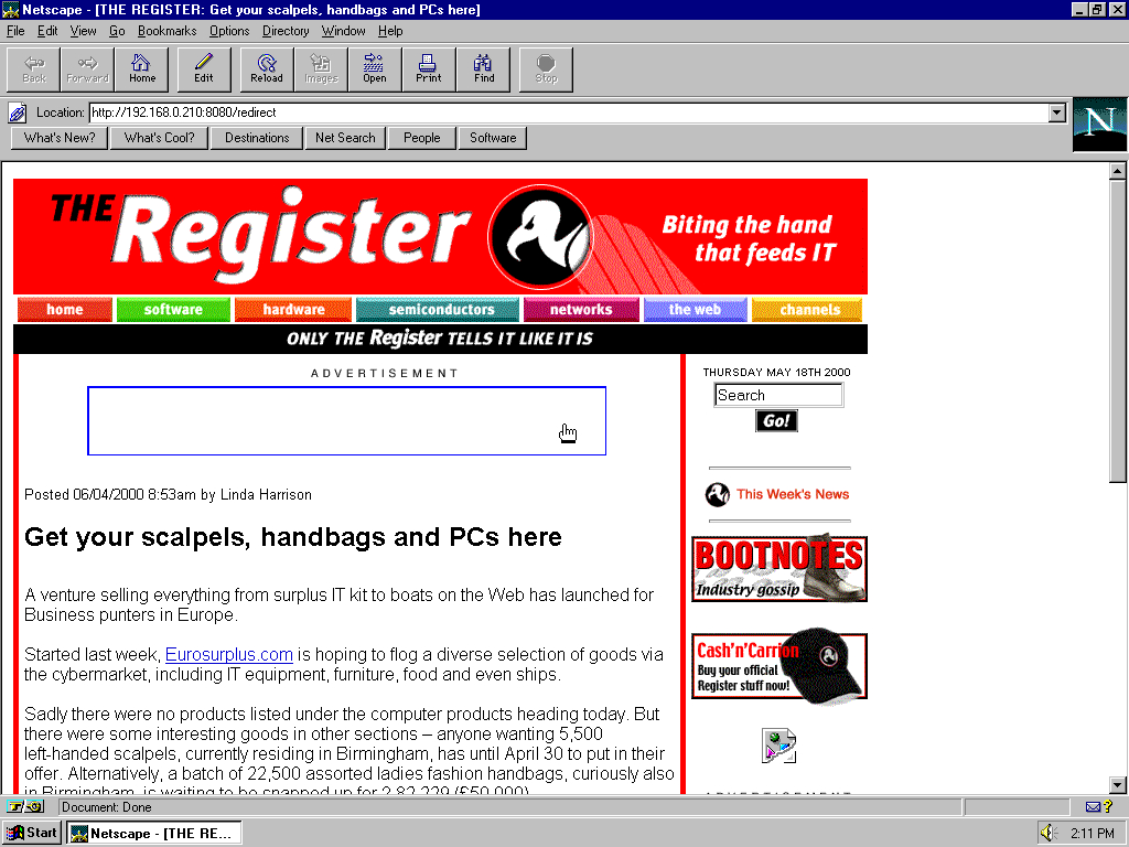 Windows 95 OSR2 x86 with Netscape Navigator 3.0 Gold displaying a page from TheRegister.co.uk archived at May 18, 2000 at 15:16:48