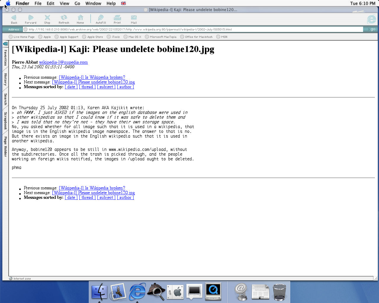OS X 10.0 PPC with Microsoft Internet Explorer 5.1 for Mac Preview displaying a page from Wikipedia.org archived at December 21, 2002 at 03:20:17