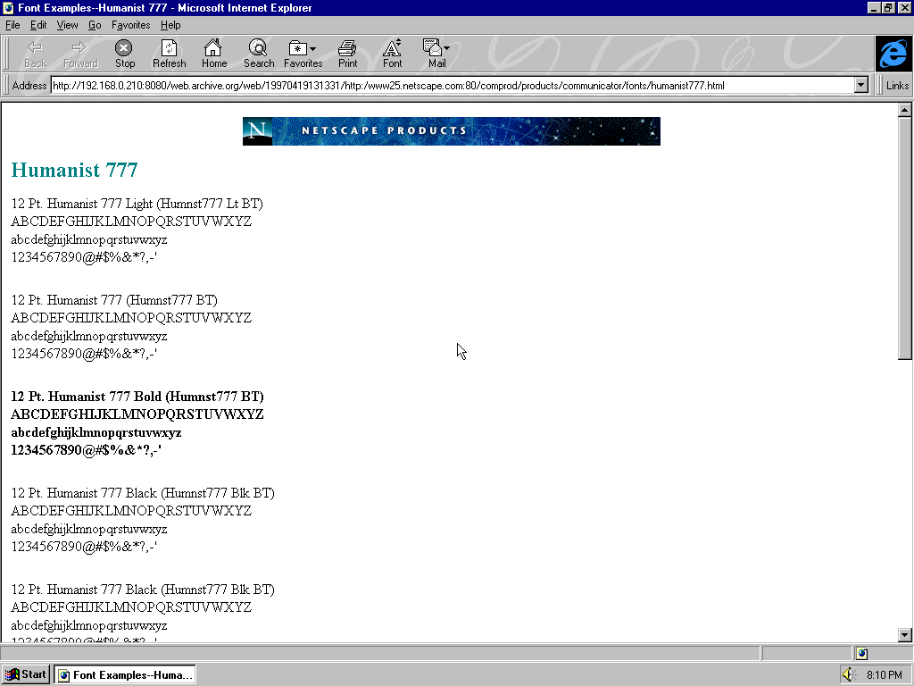Windows 95 OSR2 x86 with Microsoft Internet Explorer 3.0 displaying a page from Netscape archived at April 19, 1997 at 13:13:31