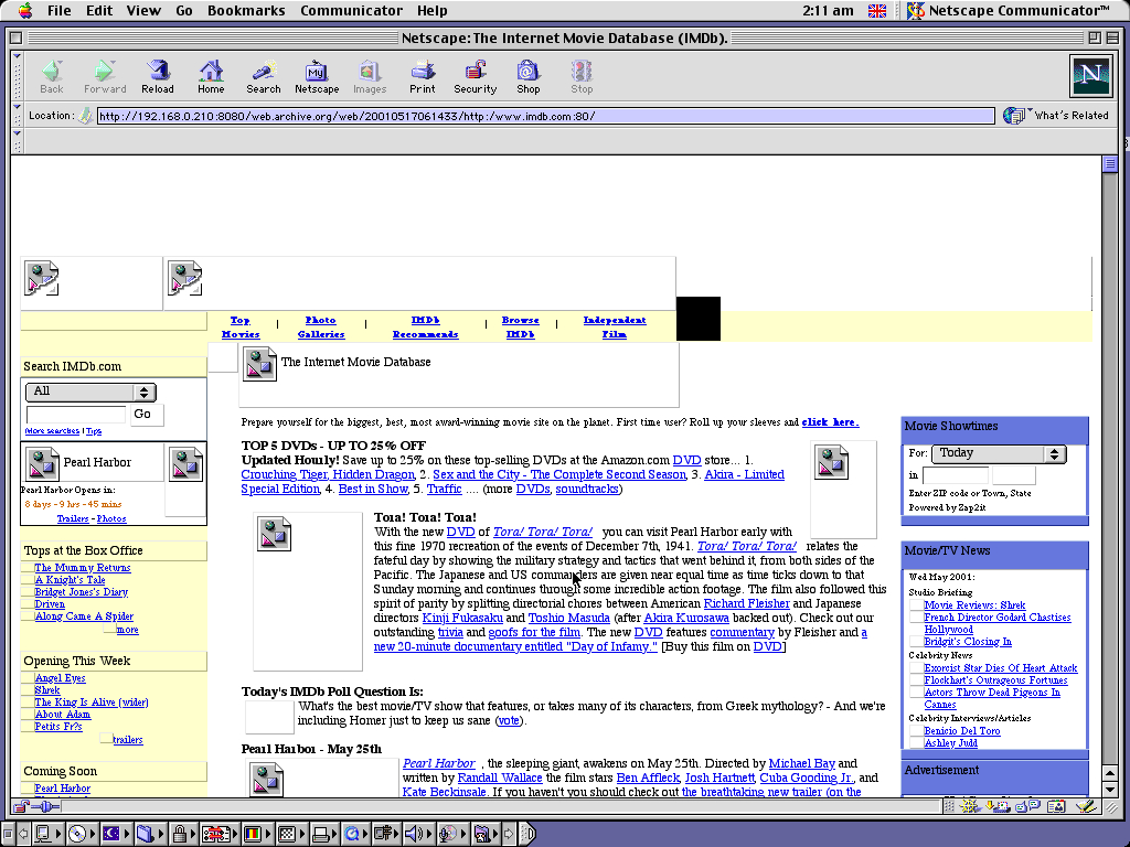Mac OS 9.0.4 PPC with Netscape Communicator 4.73 displaying a page from IMDB archived at May 17, 2001 at 06:14:33