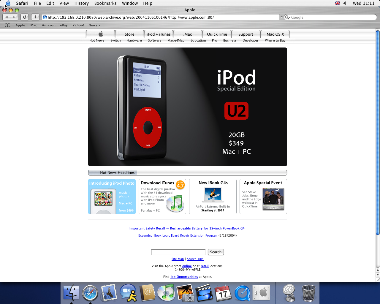 OS X 10.3 PPC with Safari 1.1 displaying a page from Apple.com archived at November 06, 2004 at 10:01:46