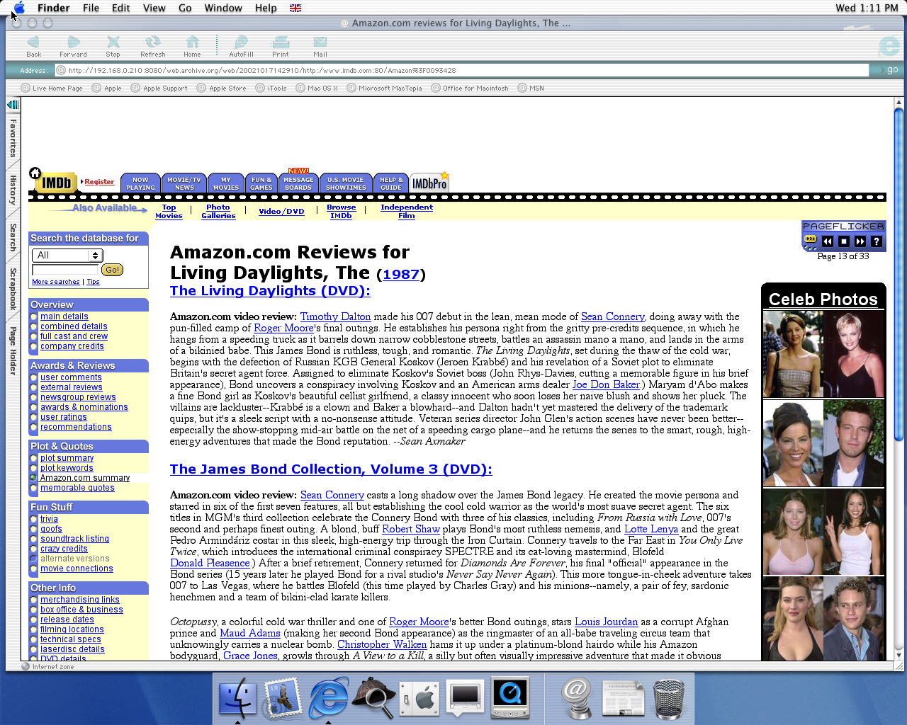 OS X 10.0 PPC with Microsoft Internet Explorer 5.1 for Mac Preview displaying a page from IMDB archived at October 17, 2002 at 14:29:10