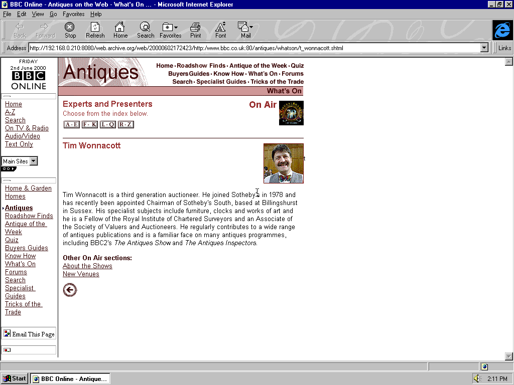 Windows 95 OSR2 x86 with Microsoft Internet Explorer 3.0 displaying a page from BBC.co.uk archived at June 02, 2000 at 17:24:23