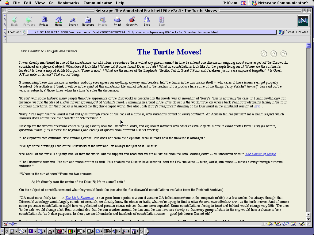Mac OS 9.0.4 PPC with Netscape Communicator 4.73 displaying a page from Lspace.org archived at February 09, 2002 at 07:27:41