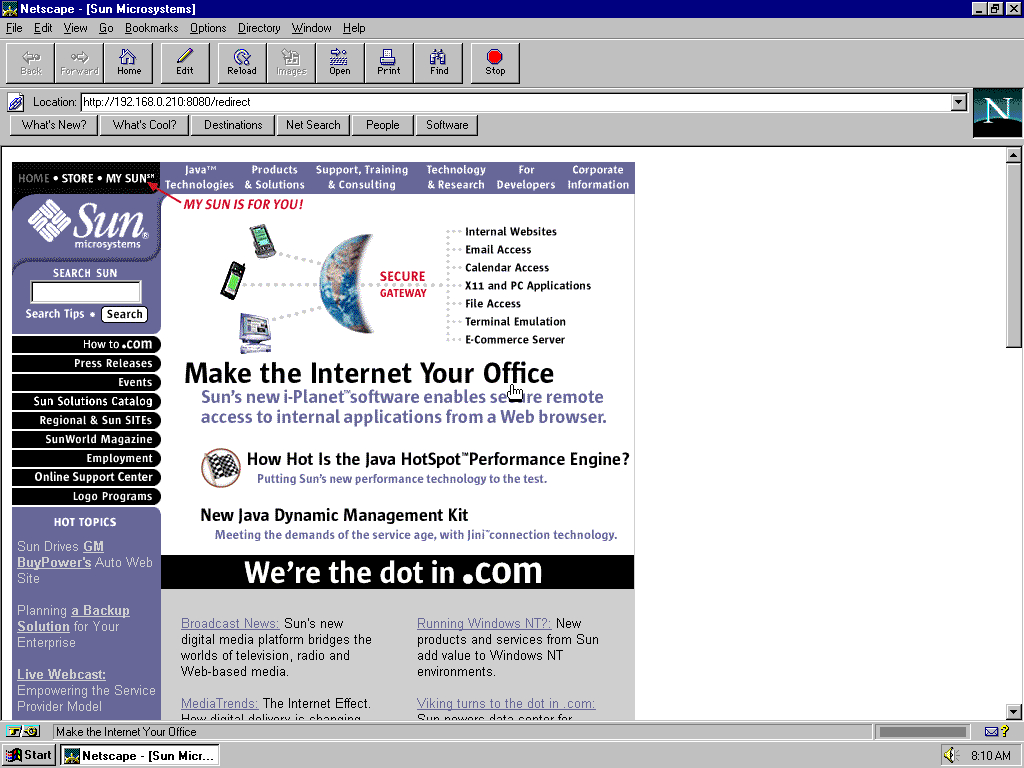 Windows 95 OSR2 x86 with Netscape Navigator 3.0 Gold displaying a page from Sun Microsystems archived at May 04, 1999 at 05:00:37
