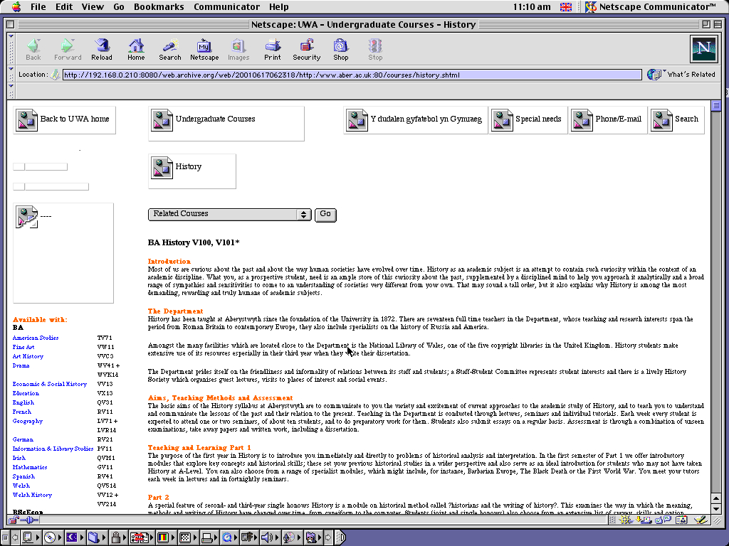 Mac OS 9.0.4 PPC with Netscape Communicator 4.73 displaying a page from University of Aberystwyth archived at June 17, 2001 at 06:23:18