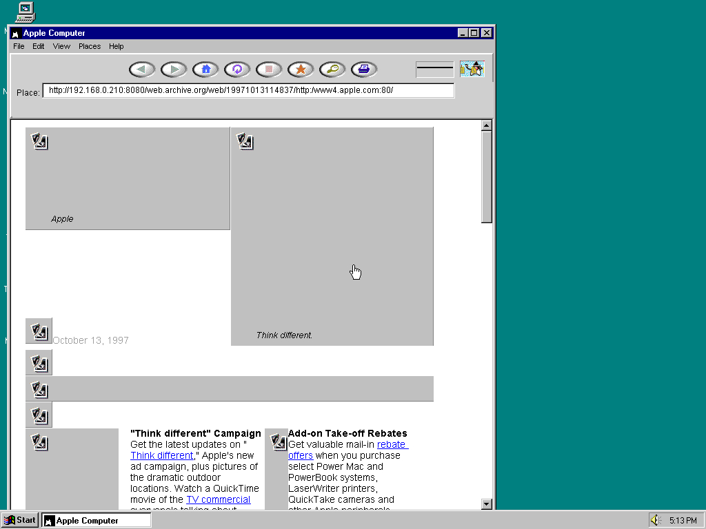 Windows 95 OSR2 x86 with HotJava 1.0 displaying a page from Apple.com archived at October 13, 1997 at 11:48:37
