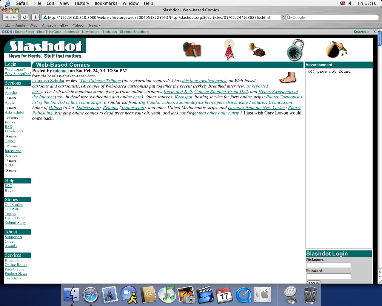 OS X 10.3 PPC with Safari 1.1 displaying a page from Slashdot archived at May 12, 2004 at 22:59:53