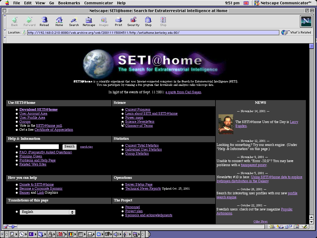 Mac OS 9.0.4 PPC with Netscape Communicator 4.73 displaying a page from Seti@Home archived at November 15, 2001 at 00:45:11