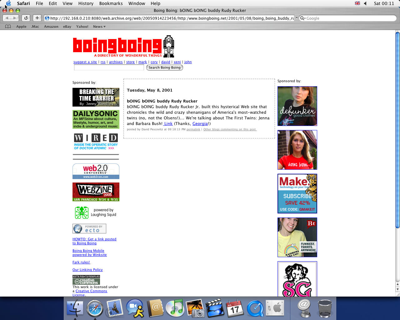 OS X 10.3 PPC with Safari 1.1 displaying a page from BoingBoing.net archived at September 14, 2005 at 22:34:56