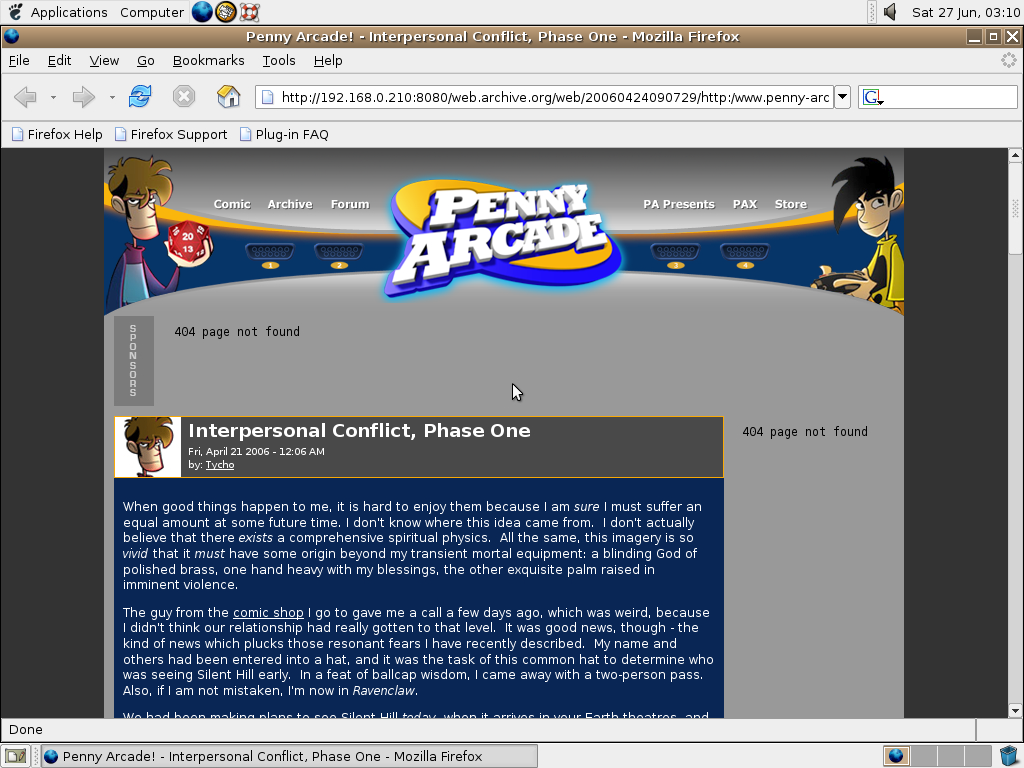 Ubuntu 4.10 x86 with Mozilla Firefox 0.9.3 displaying a page from Penny Arcade archived at April 24, 2006 at 09:07:29