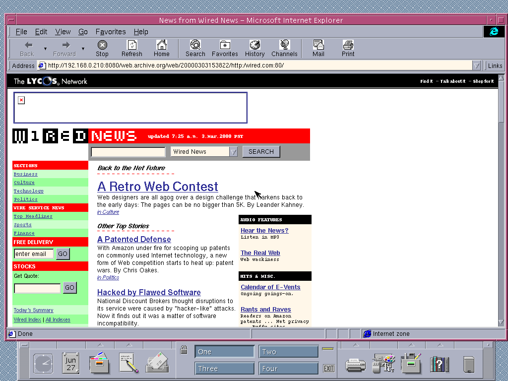 Solaris 2.6 SPARC with Internet Explorer 4.0 for UNIX displaying a page from Wired archived at March 03, 2000 at 15:38:22