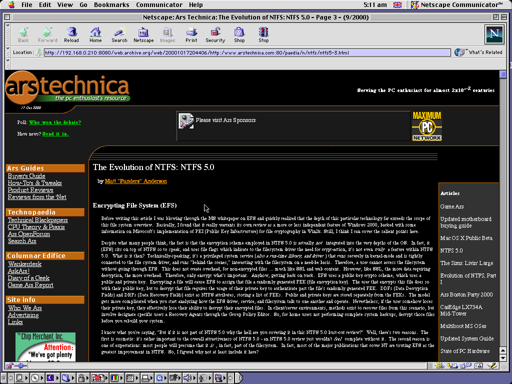 Mac OS 9.0.4 PPC with Netscape Communicator 4.73 displaying a page from Arstechnica.com archived at October 17, 2000 at 20:44:06