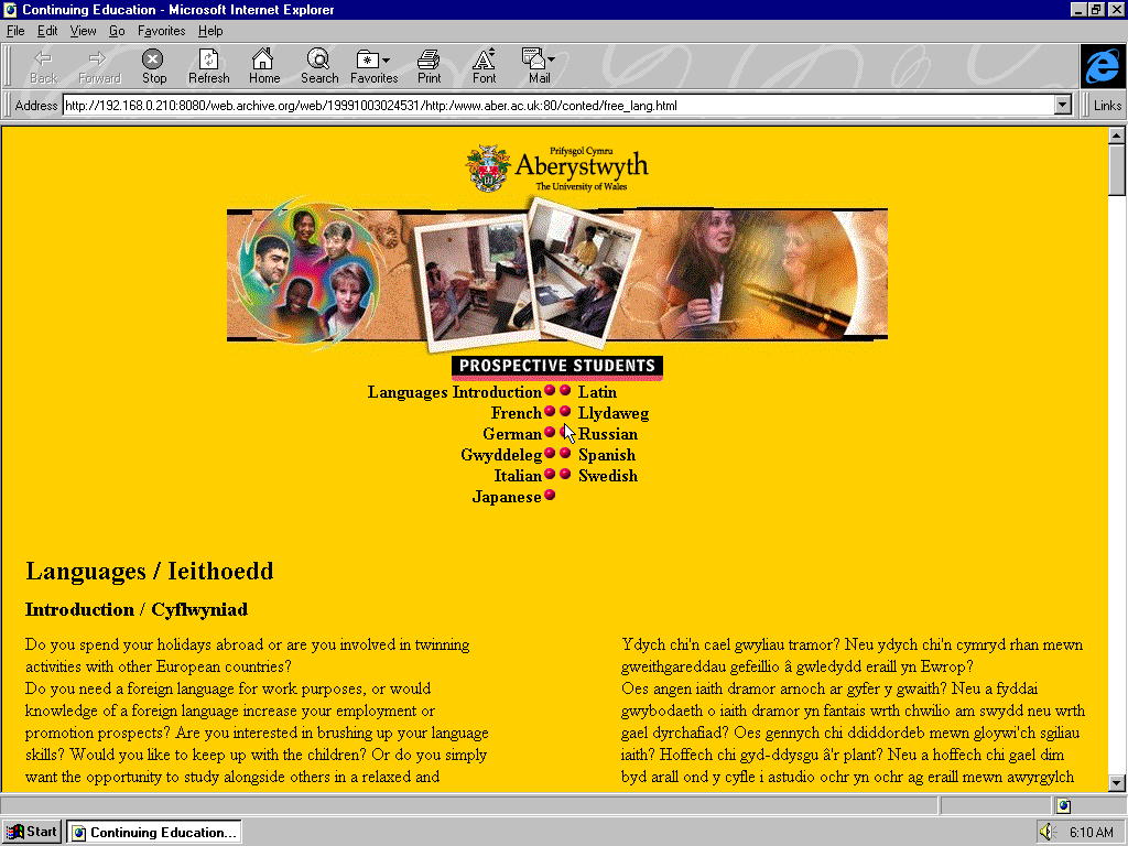 Windows 95 OSR2 x86 with Microsoft Internet Explorer 3.0 displaying a page from University of Aberystwyth archived at October 03, 1999 at 02:45:31