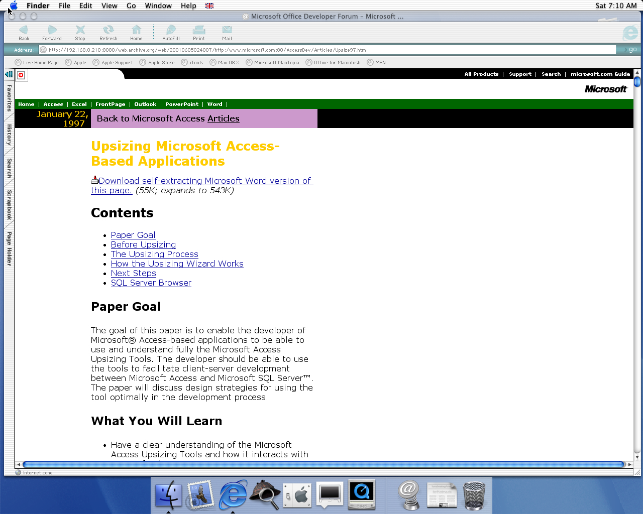 OS X 10.0 PPC with Microsoft Internet Explorer 5.1 for Mac Preview displaying a page from Microsoft.com archived at June 05, 2001 at 02:40:07