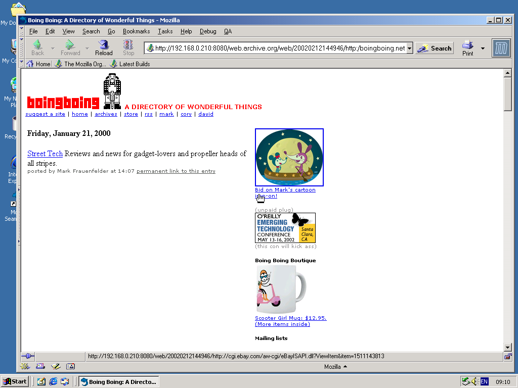Windows 2000 Pro x86 with Mozilla Suite 0.6 displaying a page from BoingBoing.net archived at February 12, 2002 at 14:49:46