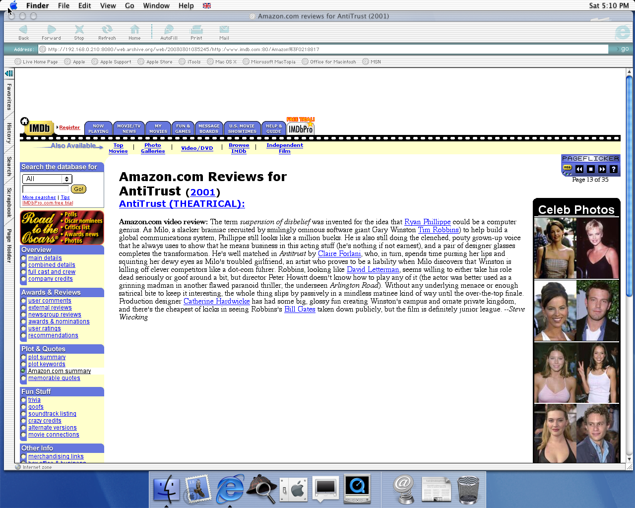 OS X 10.0 PPC with Microsoft Internet Explorer 5.1 for Mac Preview displaying a page from IMDB archived at March 01, 2003 at 03:52:45