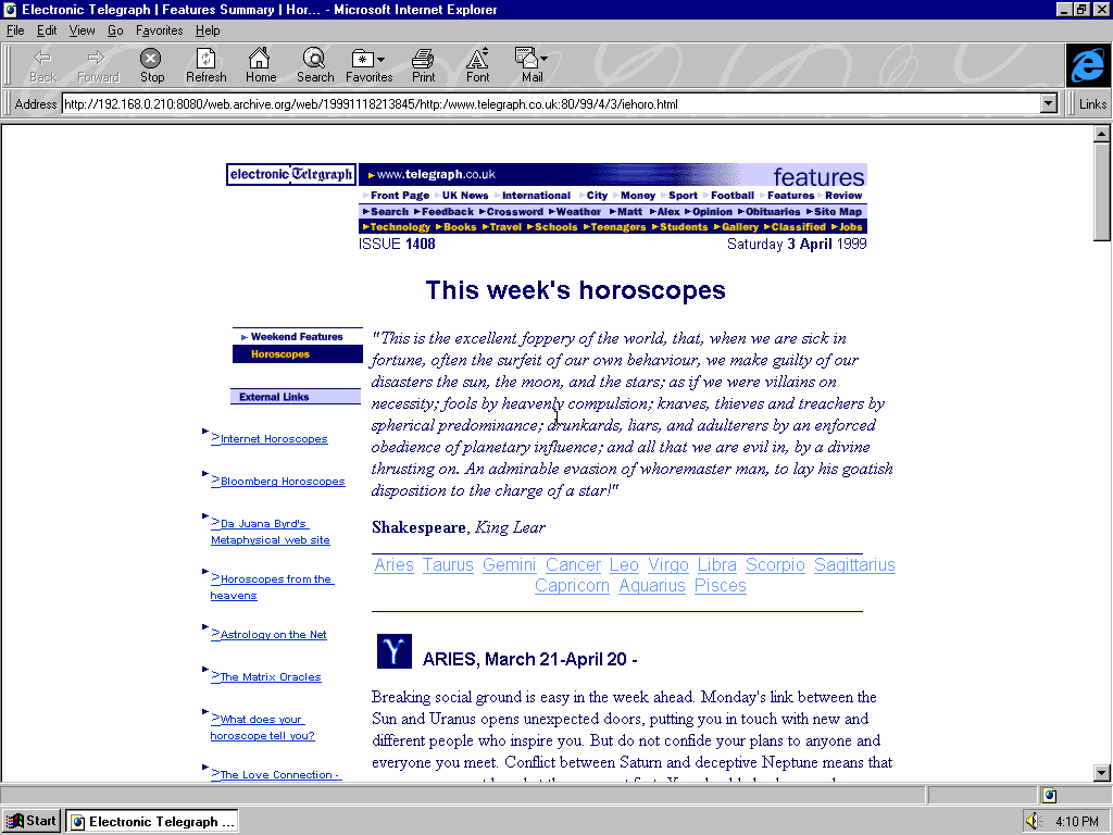 Windows 95 OSR2 x86 with Microsoft Internet Explorer 3.0 displaying a page from The Telegraph archived at November 18, 1999 at 21:38:45