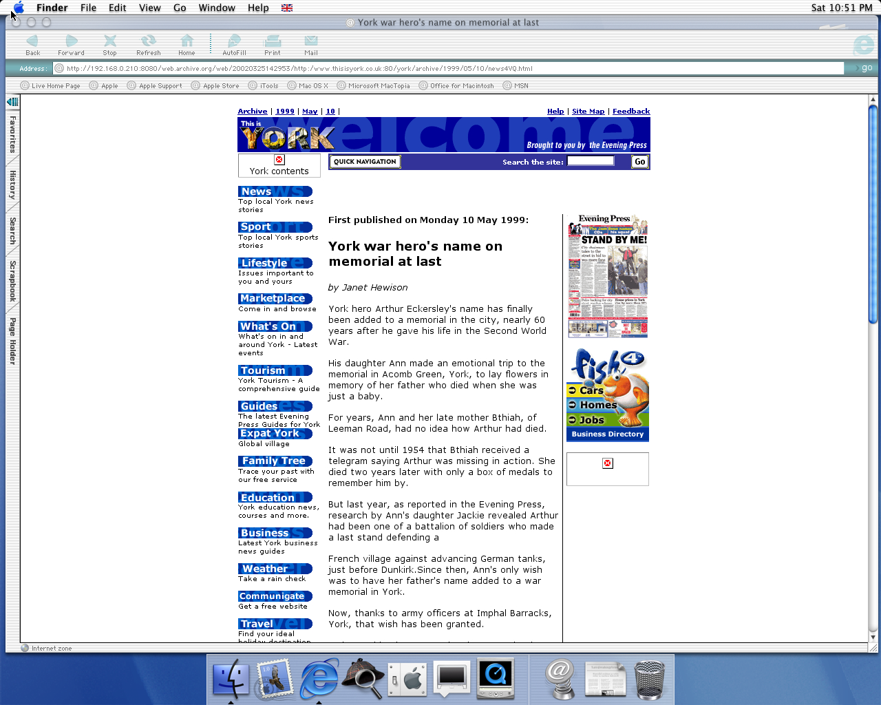 OS X 10.0 PPC with Microsoft Internet Explorer 5.1 for Mac Preview displaying a page from York Press archived at March 25, 2002 at 14:29:53