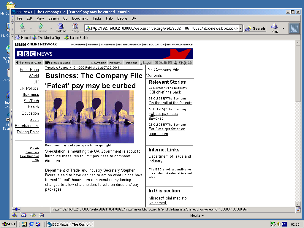 Windows 2000 Pro x86 with Mozilla Suite 0.6 displaying a page from BBC News archived at November 06, 2002 at 17:08:25