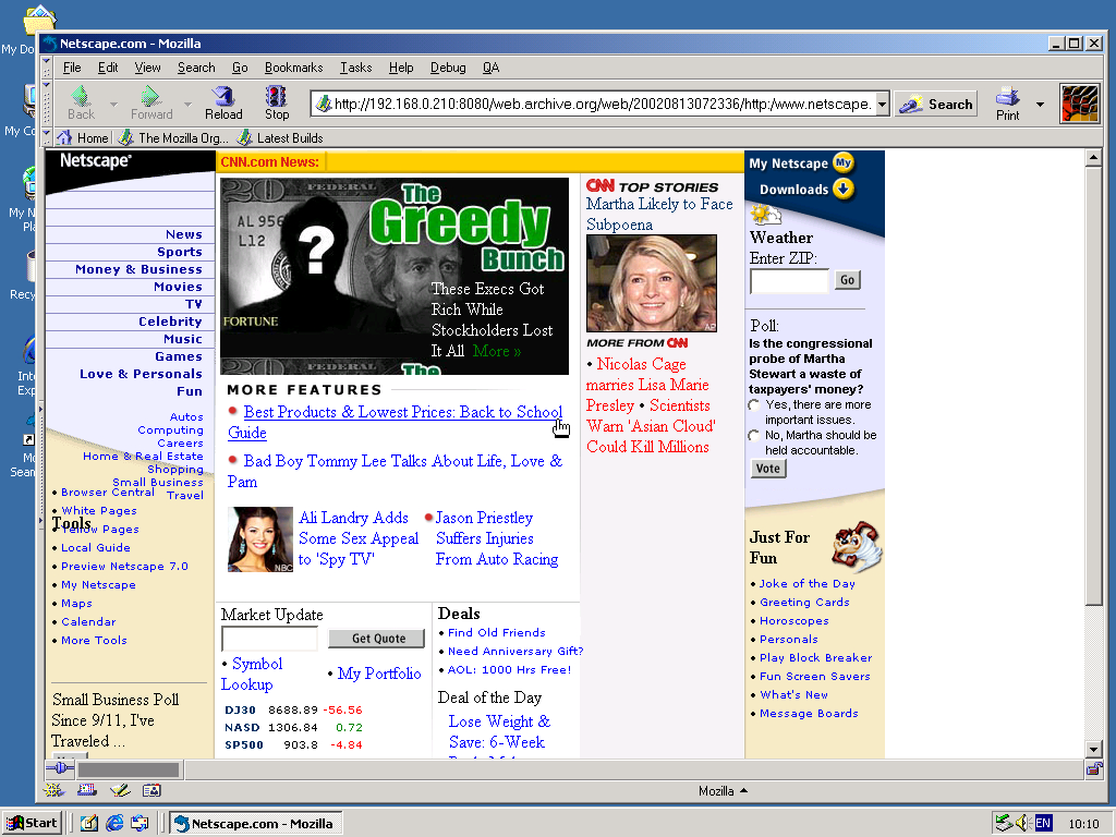 Windows 2000 Pro x86 with Mozilla Suite 0.6 displaying a page from Netscape archived at August 13, 2002 at 07:23:36