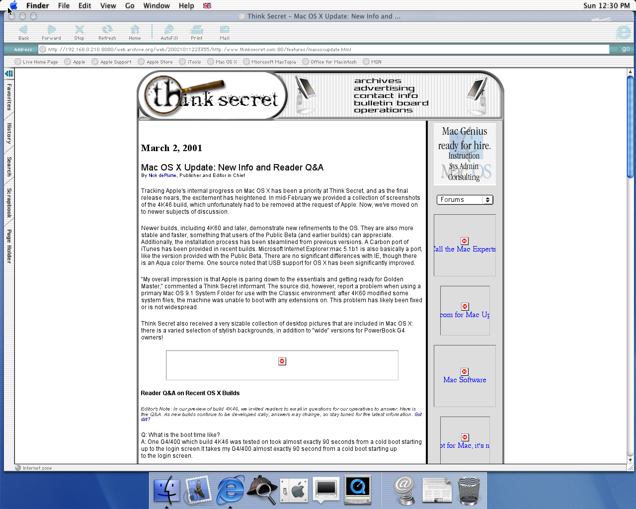 OS X 10.0 PPC with Microsoft Internet Explorer 5.1 for Mac Preview displaying a page from Think Secret archived at October 11, 2002 at 22:33:55