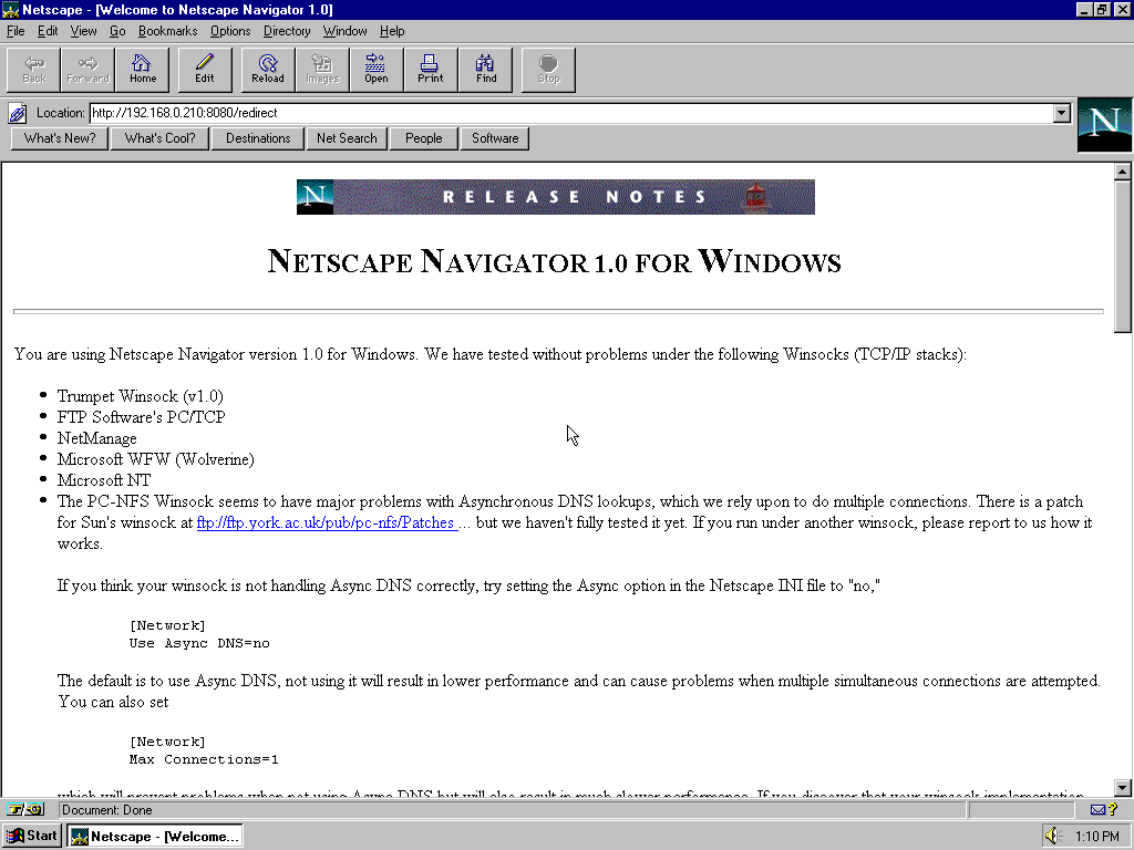 Windows 95 OSR2 x86 with Netscape Navigator 3.0 Gold displaying a page from Netscape archived at February 25, 1997 at 07:57:12