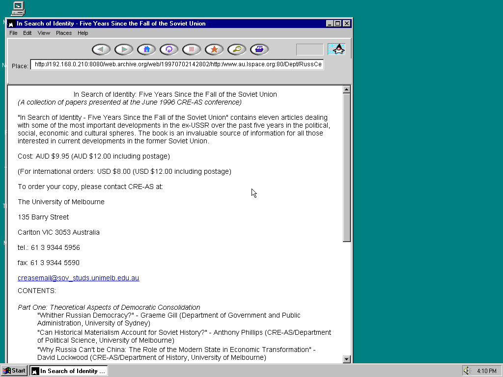 Windows 95 OSR2 x86 with HotJava 1.0 displaying a page from Lspace.org archived at July 02, 1997 at 14:28:02