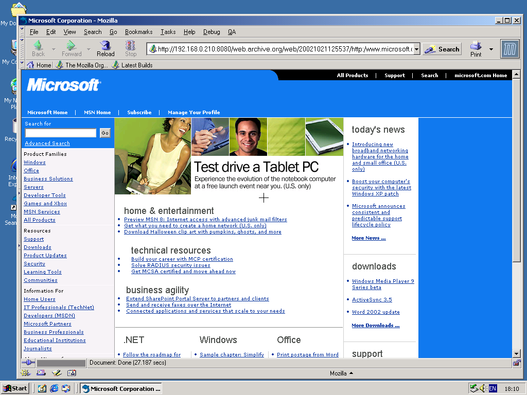 Windows 2000 Pro x86 with Mozilla Suite 0.6 displaying a page from Microsoft.com archived at October 21, 2002 at 12:55:37