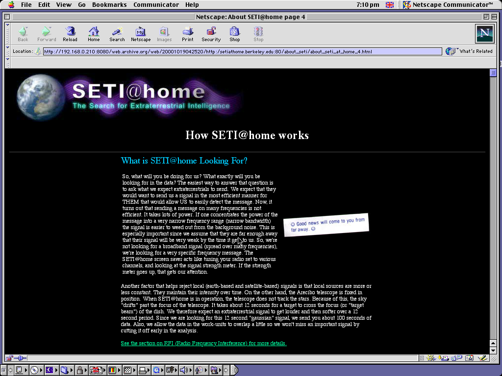 Mac OS 9.0.4 PPC with Netscape Communicator 4.73 displaying a page from Seti@Home archived at October 19, 2000 at 04:25:20