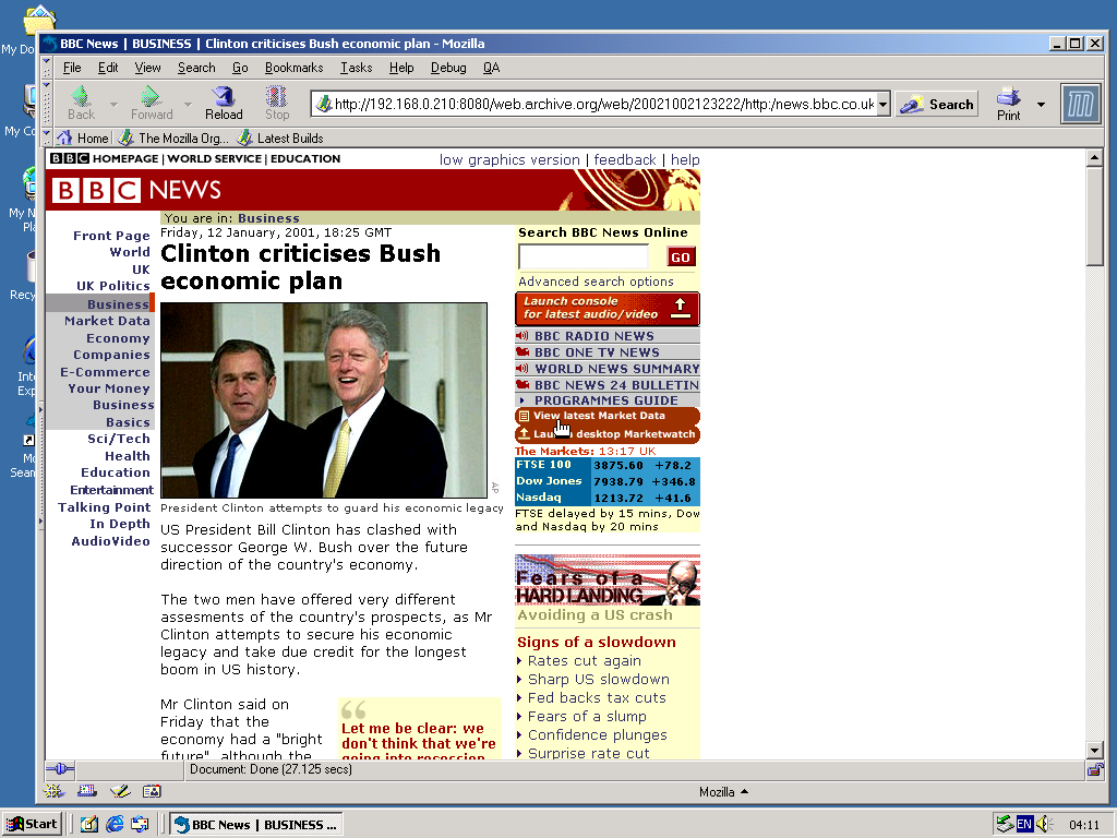 Windows 2000 Pro x86 with Mozilla Suite 0.6 displaying a page from BBC News archived at October 02, 2002 at 12:32:22